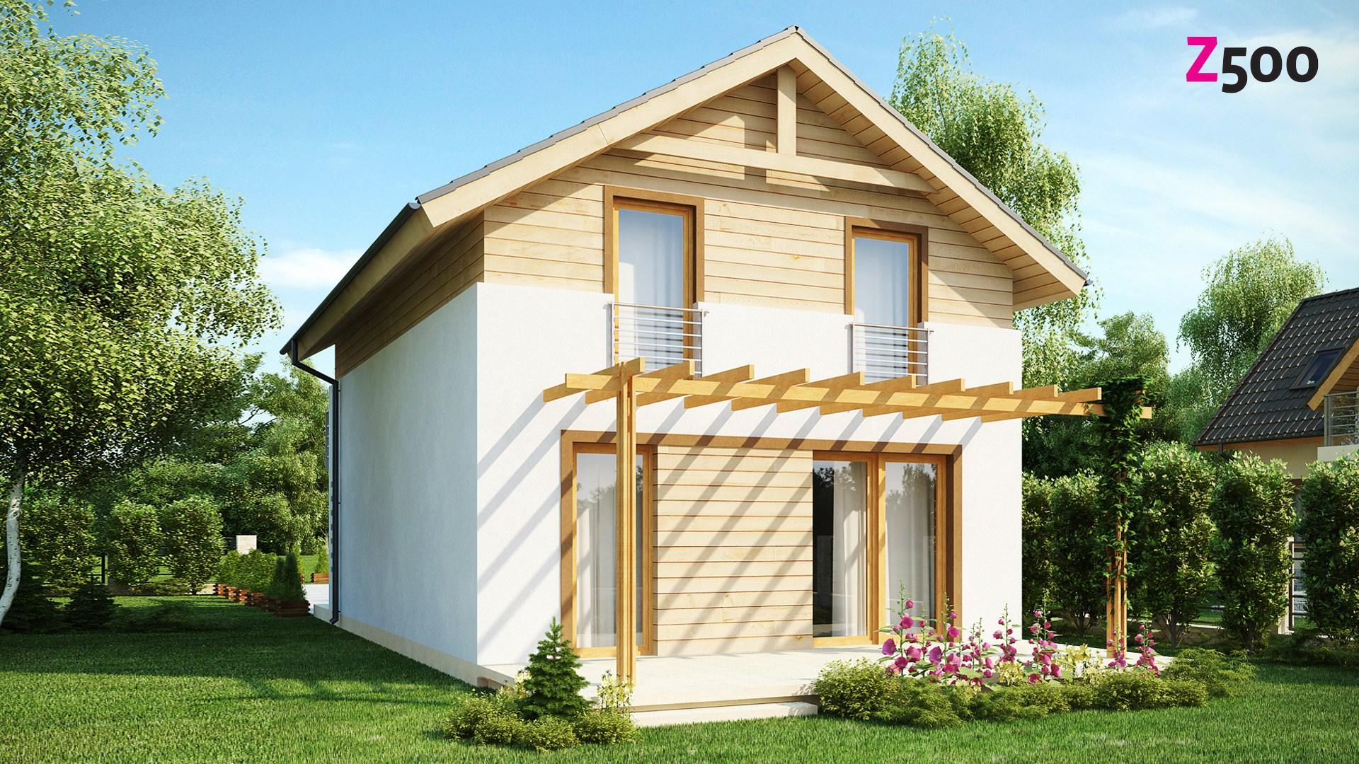 Z38 dk проект компактного аккуратного дома с мансардным этаж.